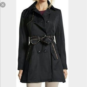 Betsey Johnson Black leopard Trench Coat size  S